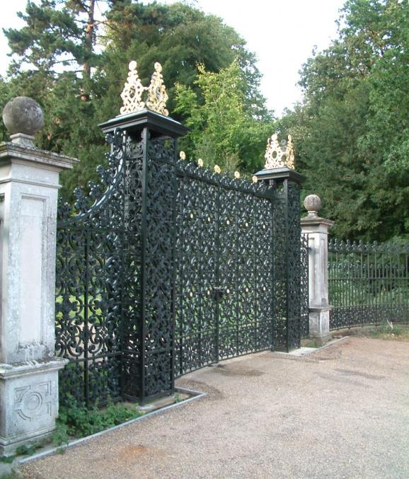 Catton Park, Norwich: Gates originally made by Barnard and Bishop during the 1860s, were removed and reset in new foundations
