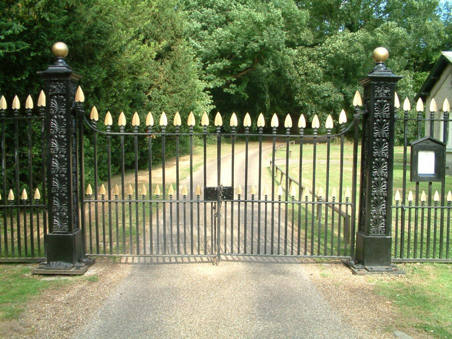 Weston Park Gates, Weston Longville: Restoration of gates originally made by Gravets of Leyston in 1848.